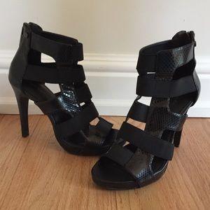 Calvin Klein Black Caged Heels
